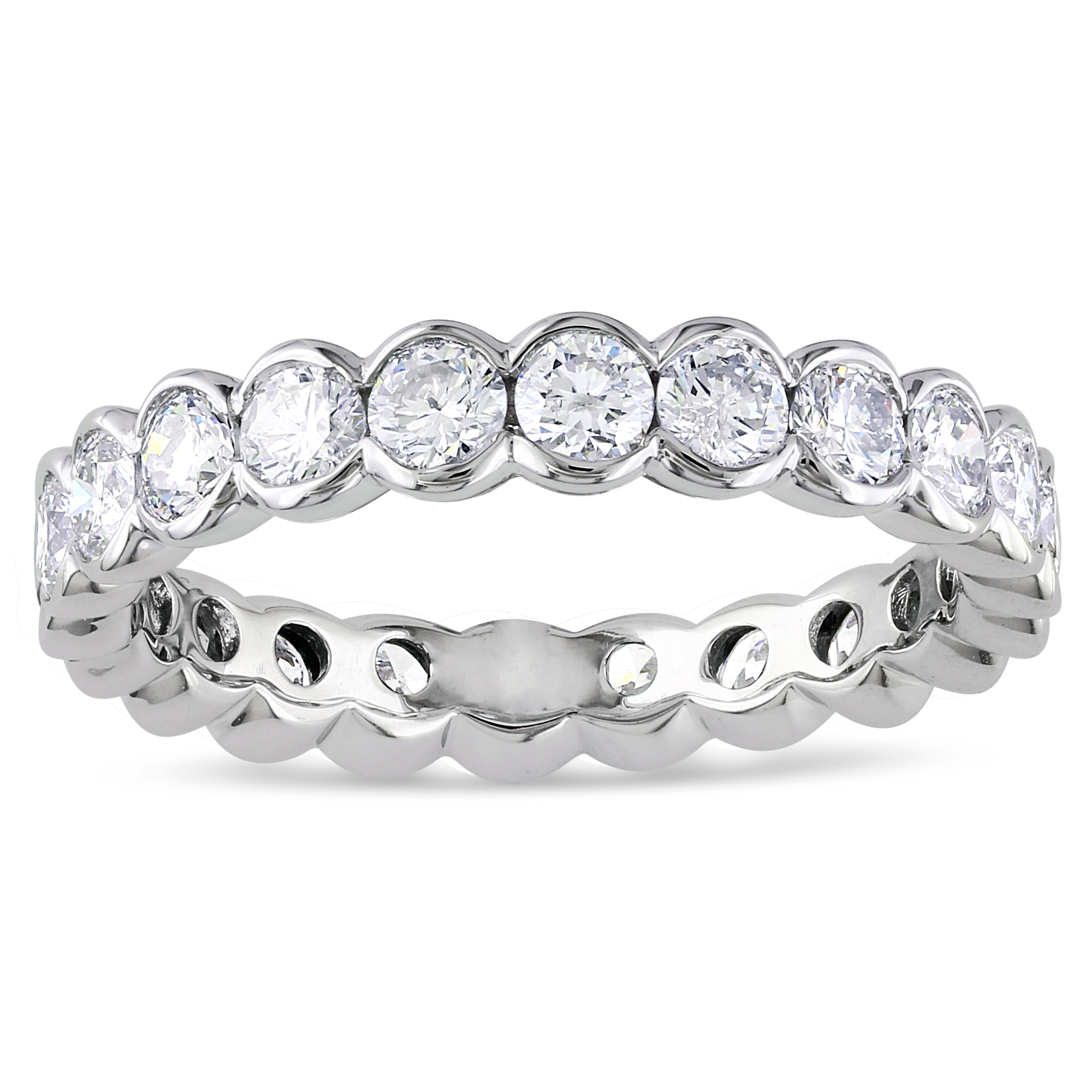 diamond w bands bezel fit comfort light tq stone set band platinum eternity ring