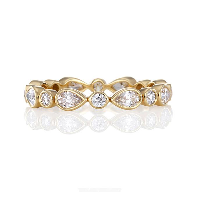 Bezel Set Pear And Round Diamond Wedding Band Toronto Jewellery